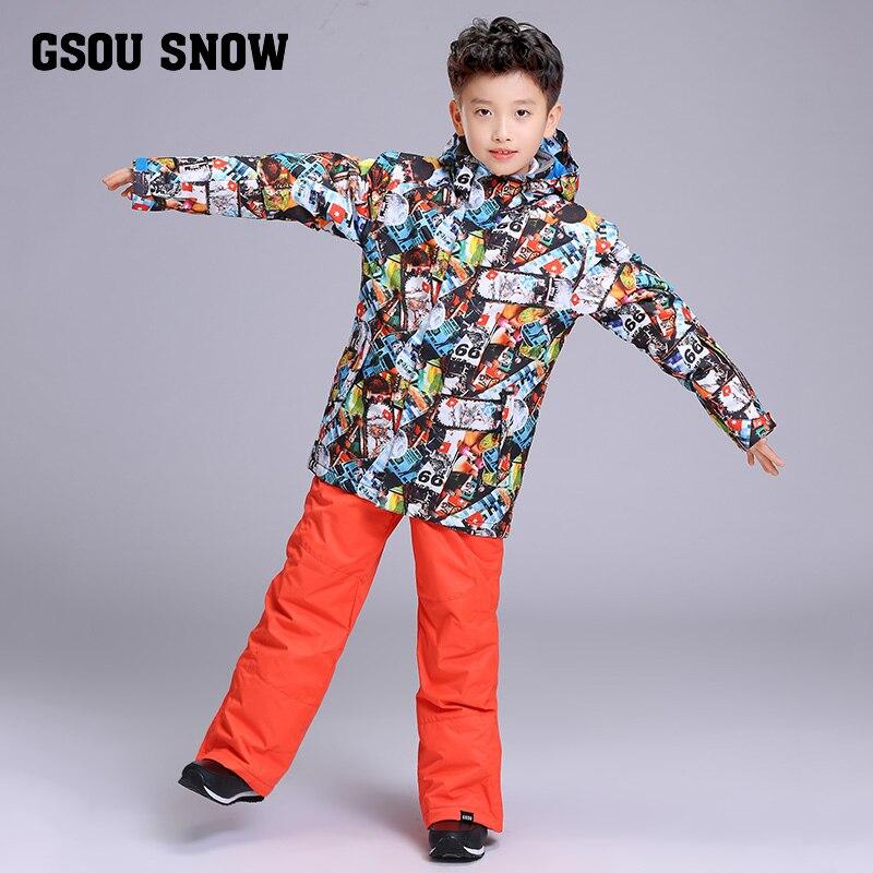 GSOU neige marque garçons veste de Ski pantalon Ski Snowboard costume coupe-vent imperméable enfants enfants vêtements pantalon Super chaud costume