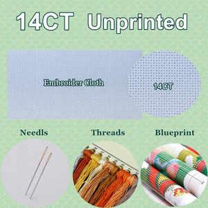 Image 5 - Geteld Borduurpakketten Handwerken Borduren Ambachten 14 ct Aida DMC Kleur DIY Arts Handgemaakte Interieur Zomer wildflowers
