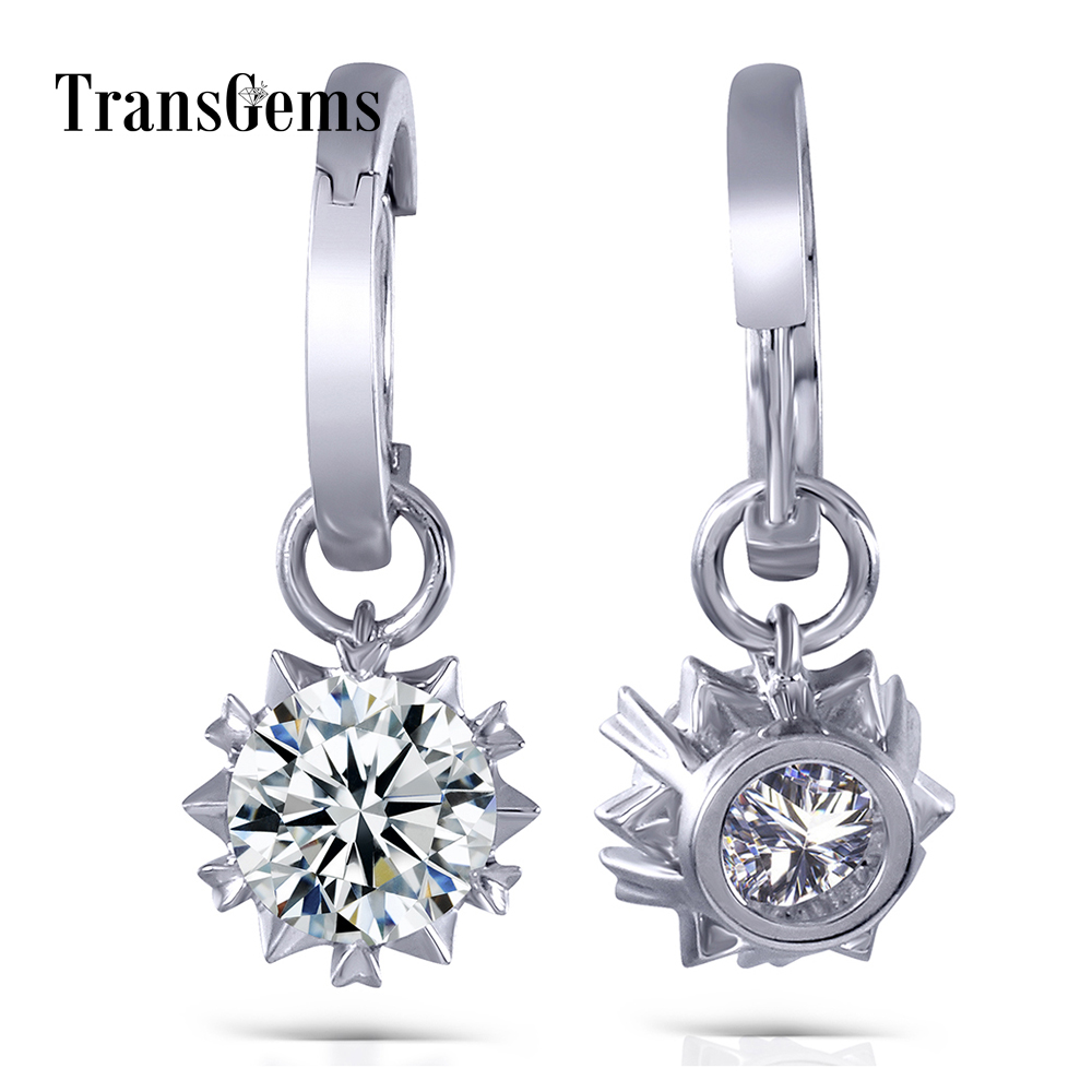 TransGems 2 CTW Carats Lab Grown Moissanite White Gold Stunning Brilliant Drop Earrings in 14K 585 Gold Setting for Women цена