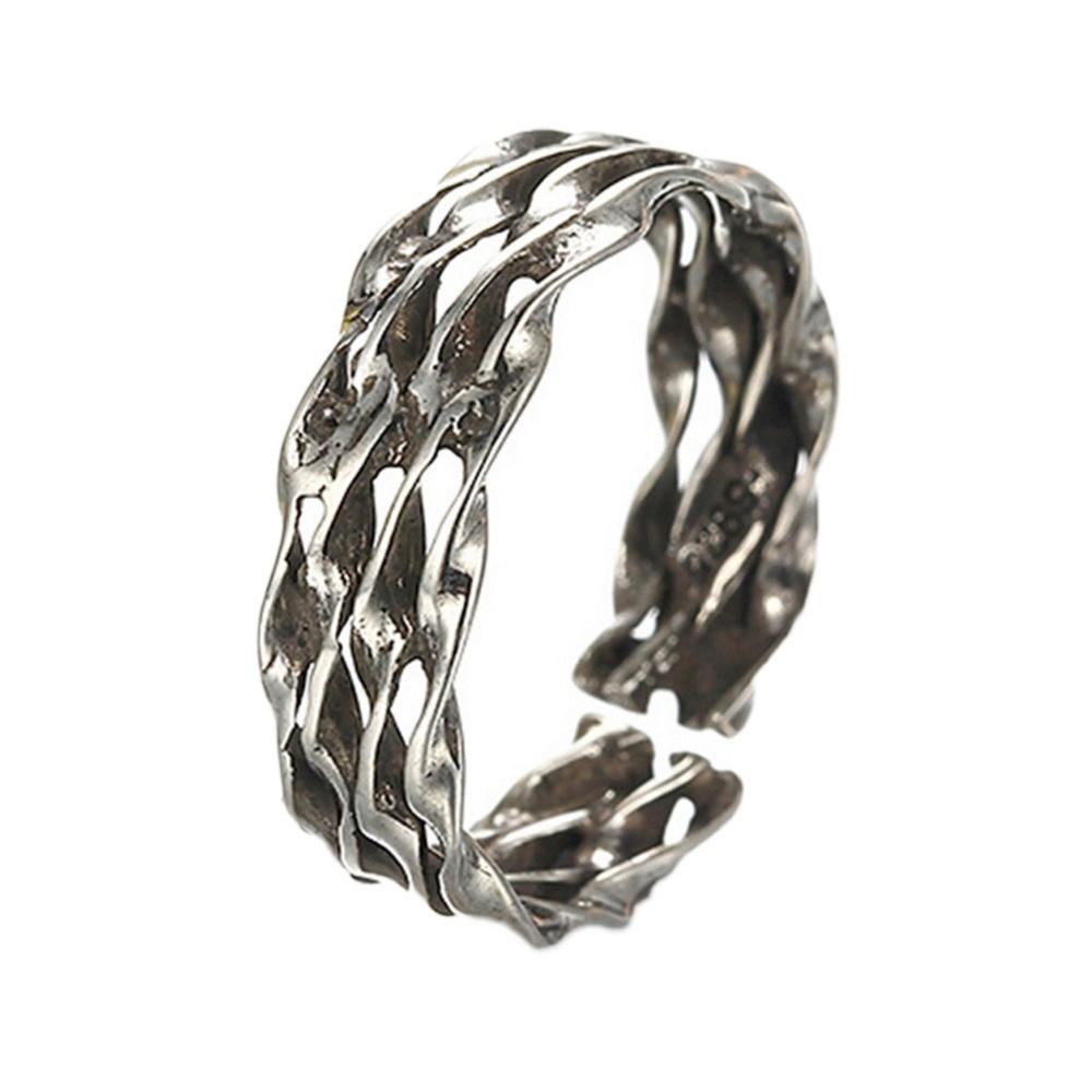№Joyería encantadora moda anillo de apertura retro color plata ...