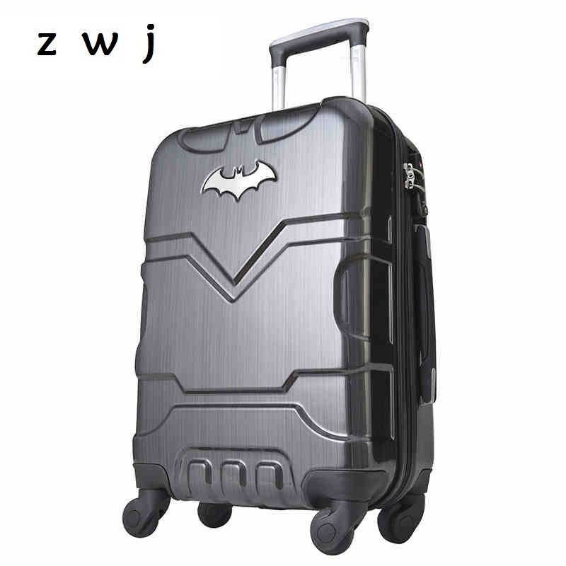20 24 28 inch Batman ABS PC Luggage boarding password hardside luggage rolling trolley suitcase for