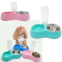 Dog Double Bowl Pet Puppy Cat Feeders Water Dispenser Stainless Steel Dog Supplies Pet Products Accessories