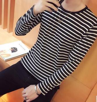 ECTTC Korean Harajuku Black White Striped T-shirt Men Women Unisex Loose Oversize Extra Long Sleeve Couple T Shirt