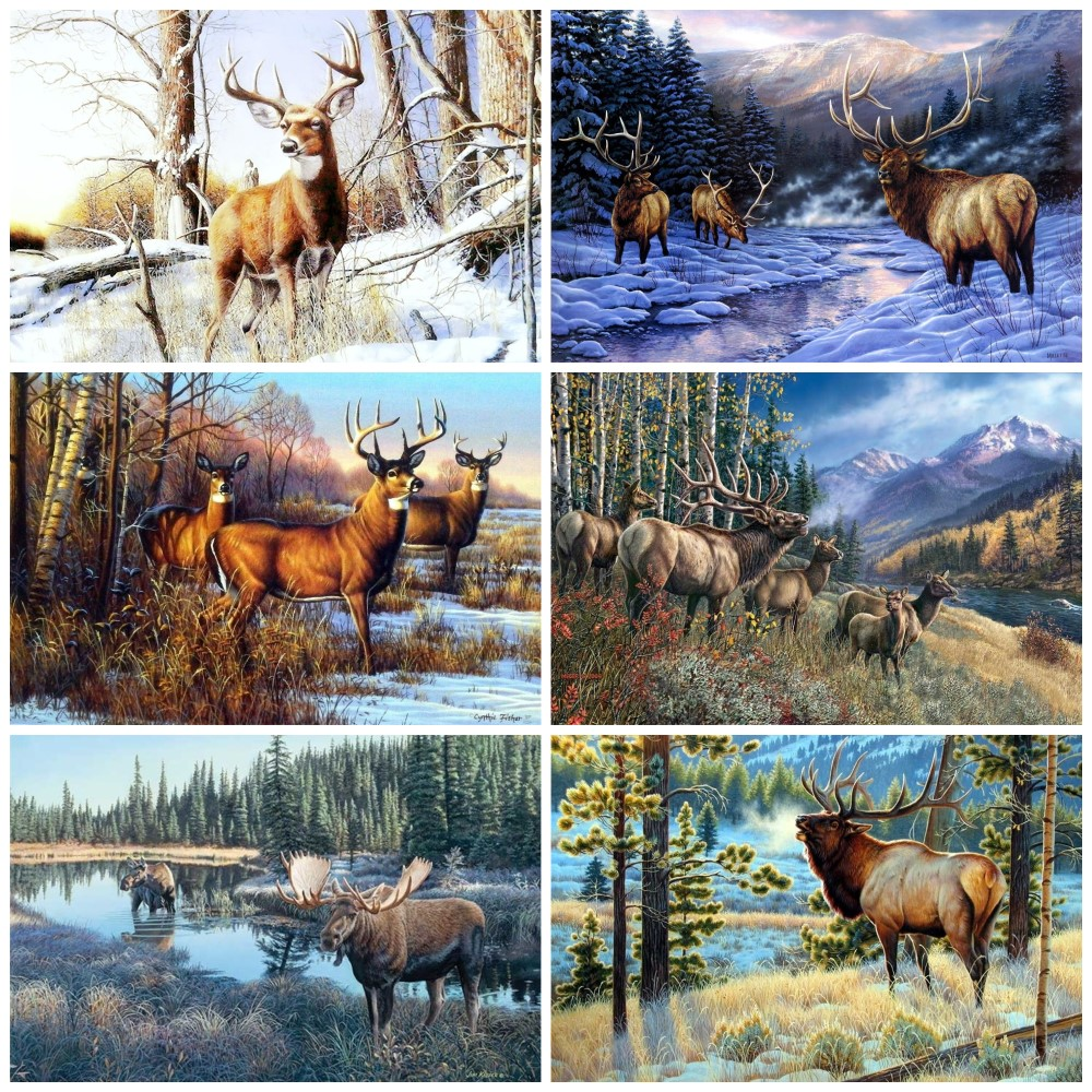 Embroidery Counted Cross Stitch Kits Needlework - Crafts 14 Ct DMC Color DIY Arts Handmade Decor - Deer Elk Moose