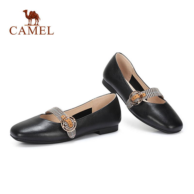 CAMEL New Women Casual Low Heel Single Shoes For Ladies Soft Leather Shallow Buckle Pumps Fashion