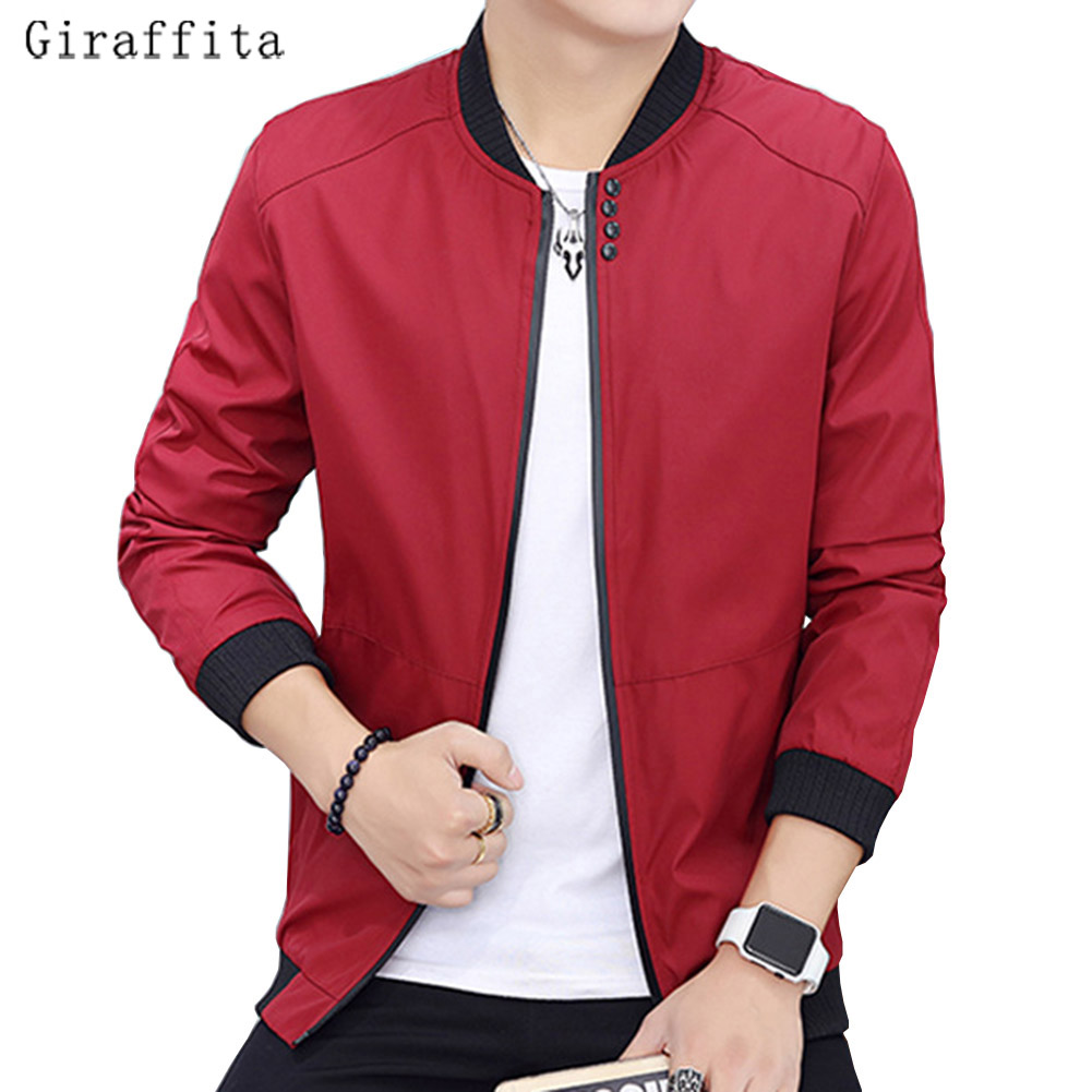 2017 Giraffita New Arrival Spring Autumn Men's Jackets Solid Fashion Male Casual Slim Stand Collar Bomber Jacket Men Overcoat