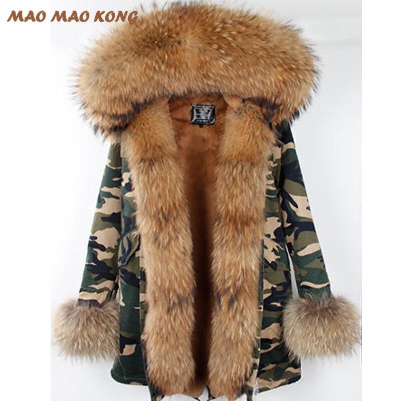 2018 Nouvelle Longue Courtes ArmyGreen Hiver veste Avec Grande Fourrure De Raton Laveur à capuchon femmes outwear épais parkas coatpelliccia Livraison Gratuite
