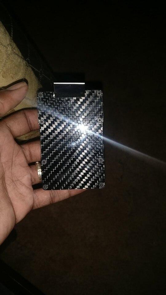 Teemzone 2019 nieuw ontwerp minimalistische portemonnee kaart geval RFID blokkeren voor mannen koolstofvezel portemonnee gespannen creditcardhouder K394 photo review