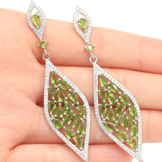 SheCrown Long Green Peridot Natural White CZ Ladies 925 Silver Earrings 67x17mm
