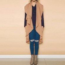 2017 Fashion Women Waterfall Sleeveless Casual Solid Ruffles Asymmetrical Hem Cardigans Autumn Loose Vest Coats Jacket Waistcoat