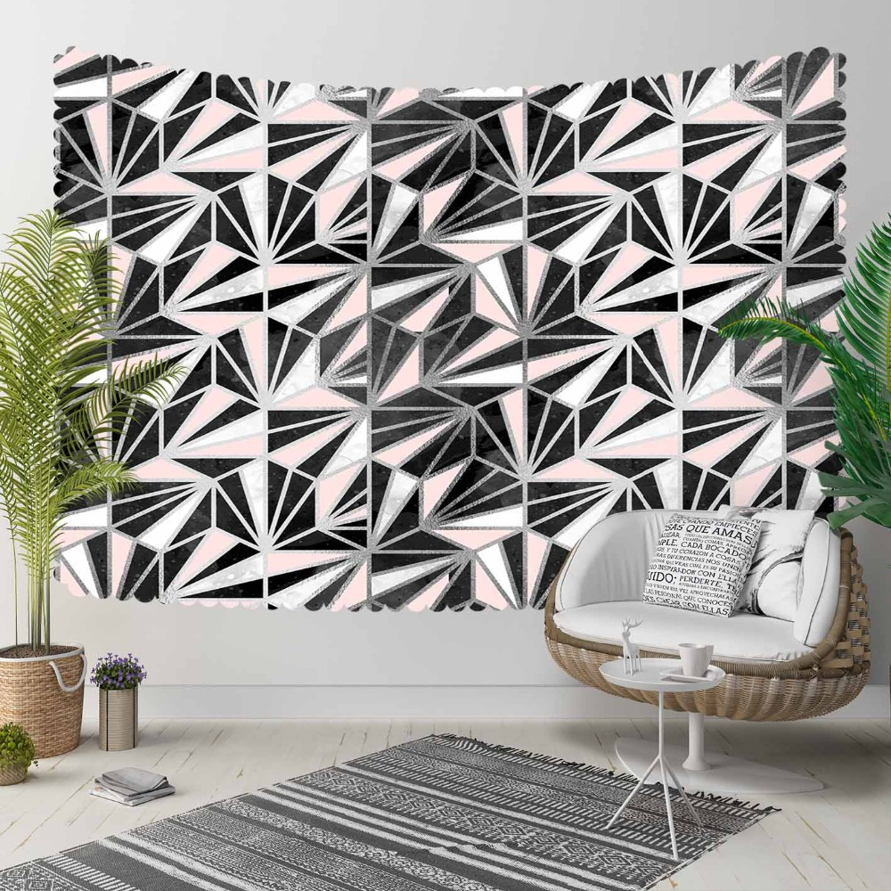 Else Nordec Black White Pink Geometric Stars 3D Print Decorative Hippi Bohemian Wall Hanging Landscape Tapestry Wall Art