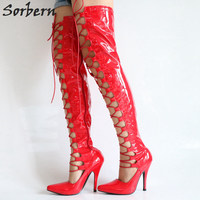 Sorbern Red Tigh High Boots Women Lace Up Front Shoes Woman Over Knee High Boots High Heels Pointed Toe Patent Big Size 46