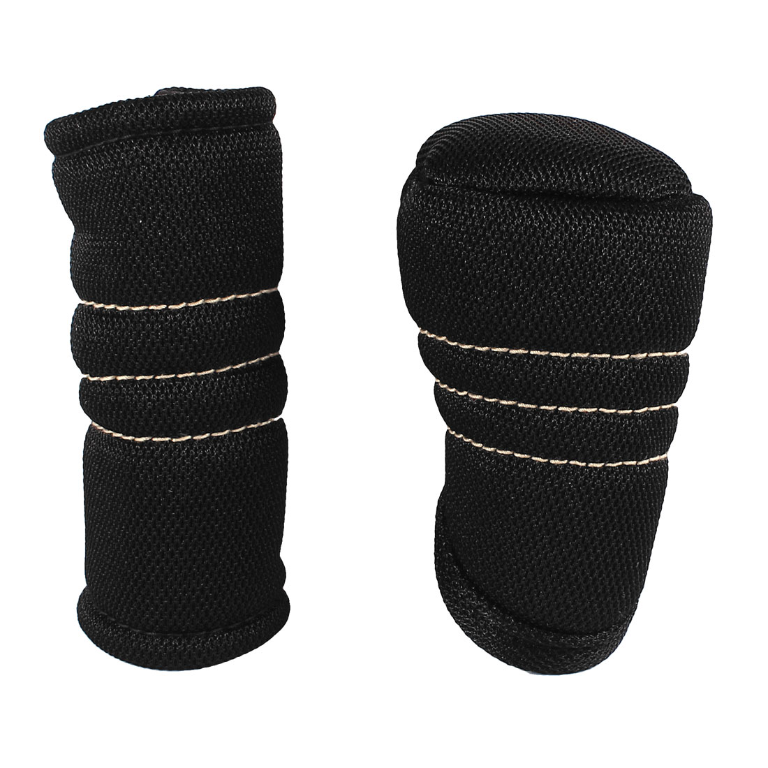 X Autohaux Car Auto Black Nylon Zip Up Gear Shift Knob Cover + Hand Brake Cover Sleeve Protector Pad
