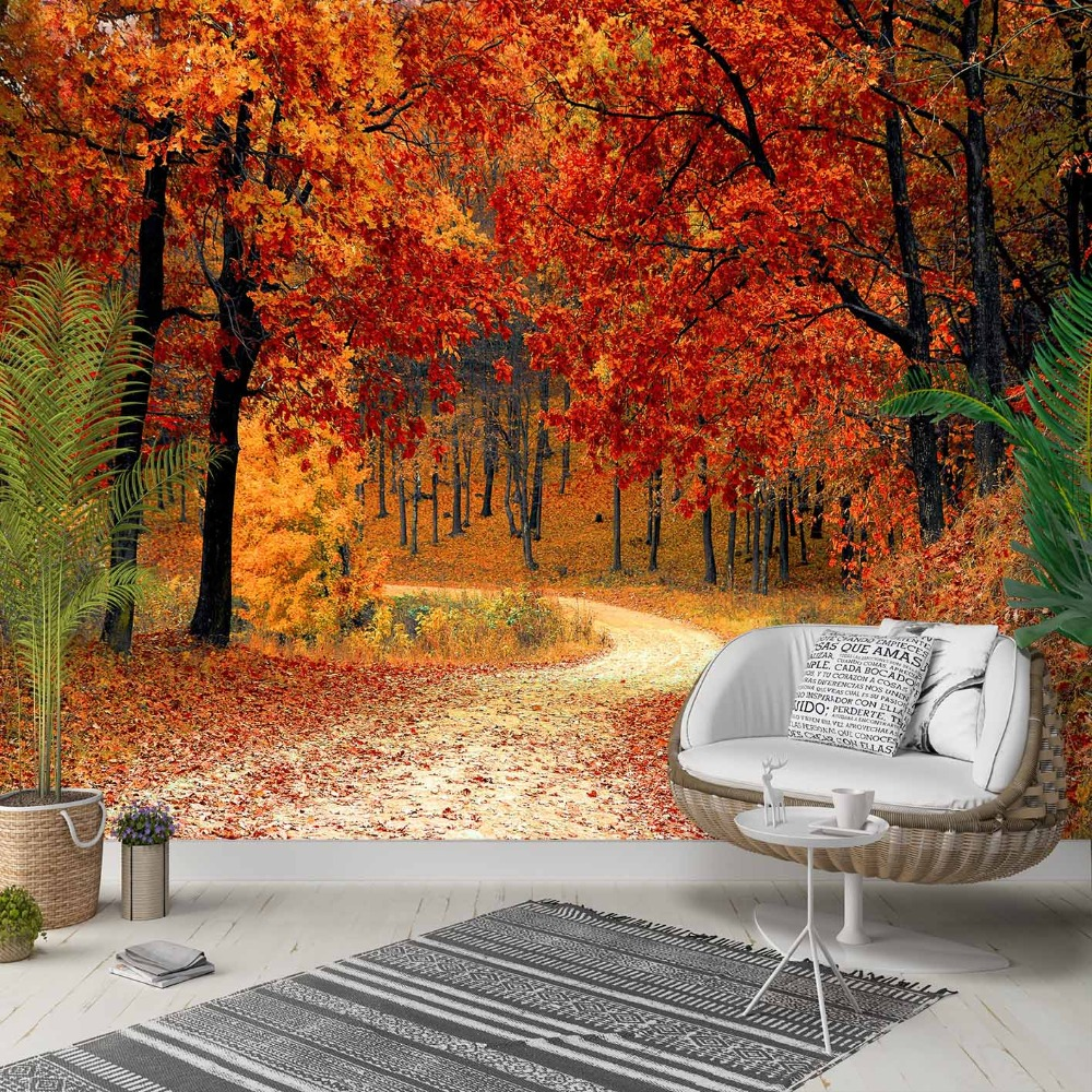 Else Brown Yellow Autumn Trees Forest Way 3d Photo Cleanable Fabric Mural Home Decor Living Room Bedroom Background Wallpaper