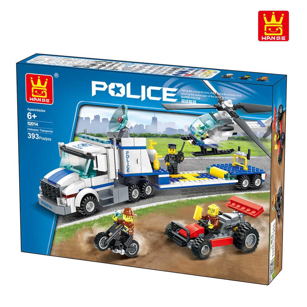 WANGE zabawki z klocków City seria policyjna helikopter Transport Team 393 sztuk cegieł DIY śmieszne dzieci zabawki dla dzieci prezenty nr 52014