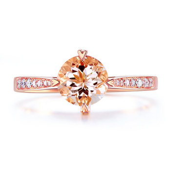 Peacock Star 14K Rose Gold Wedding Engagement Ring 1.2 Ct Peach Morganite 0.13 Ct Natural Diamonds 1