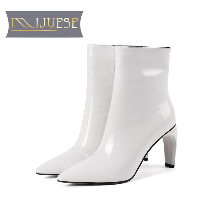 MLJUESE 2019 women ankle boots cow leather patent leather zippers winter short plush high heels women boots size 33-43MLJUESE 2019 women ankle boots cow leather patent leather zippers winter short plush high heels women boots size 33-43