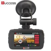 RUCCESS Car DVR Radar Detector GPS 3 in 1 Car-detector Camera Full HD 1296P Speedcam Anti Radar Detectors Dash Cam 1080p WDR