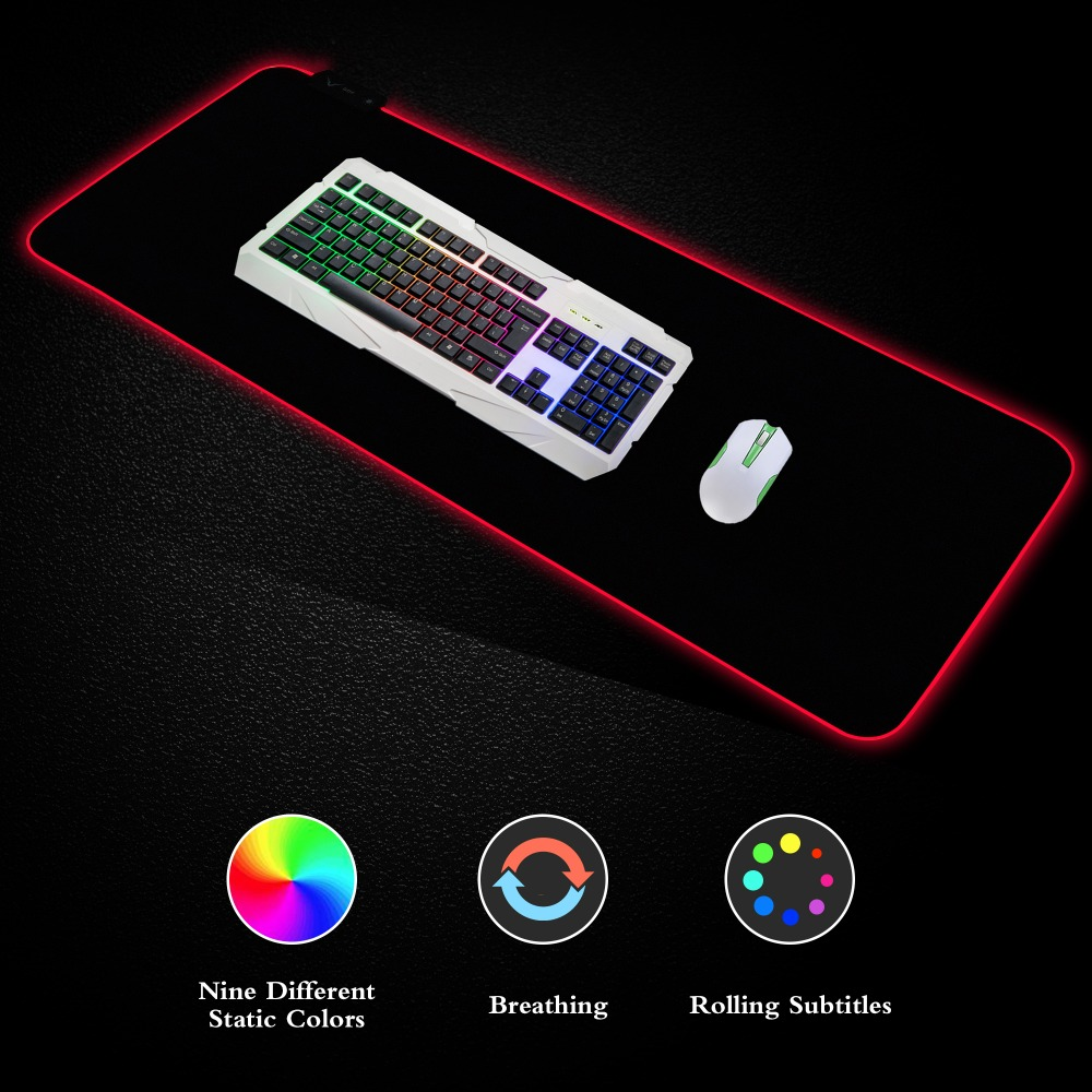 Large RGB Colorful LED Lighting Keyboard Mat Gaming Mouse Pad For PC Computer