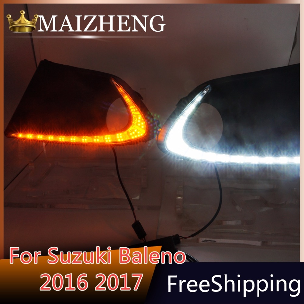 New 1 Set Auto LED Fog Lamp Car LED Daytime Running Lights 12V DRL With Yellow Turn Signals For SUZUKI Baleno 2016 2017 hot sale q5 red led flashlight torch light tactical lanterna 18650 flash light linternas rat tail switch for hungting