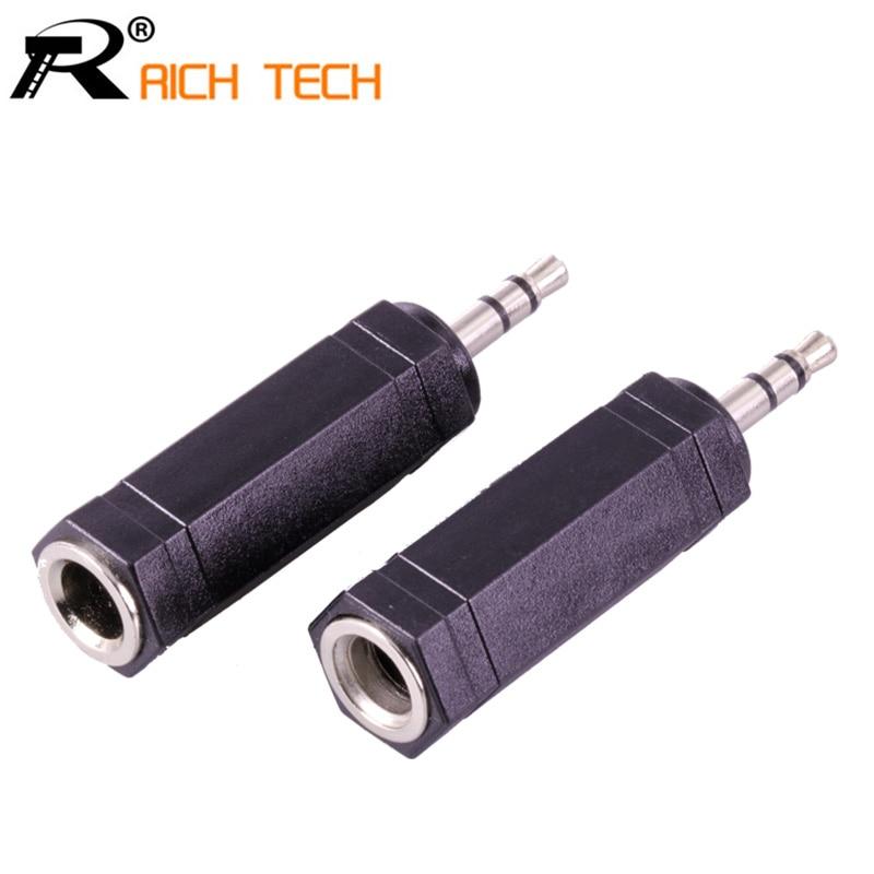 3Pcs  6 Corners Audio Connector 3 Pole Jack 3.5 MM Plug To Jack 6.35 Stereo Female Socket Adapter