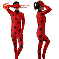 The Miraculous Ladybug Suit Cosplay Costumes Halloween Girls Marinette Ladybug Jumpsuits Kids Adult Full Lycra Suit