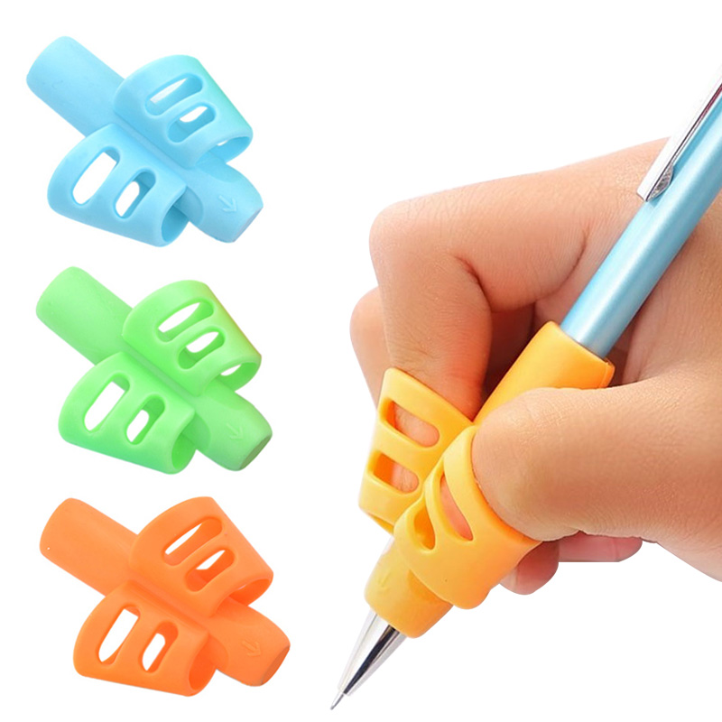 3pcs Children Writing Pencil Pan Holder Kids Learning Practise Silicone Pen Aid Grip Posture Correction Device For Students New