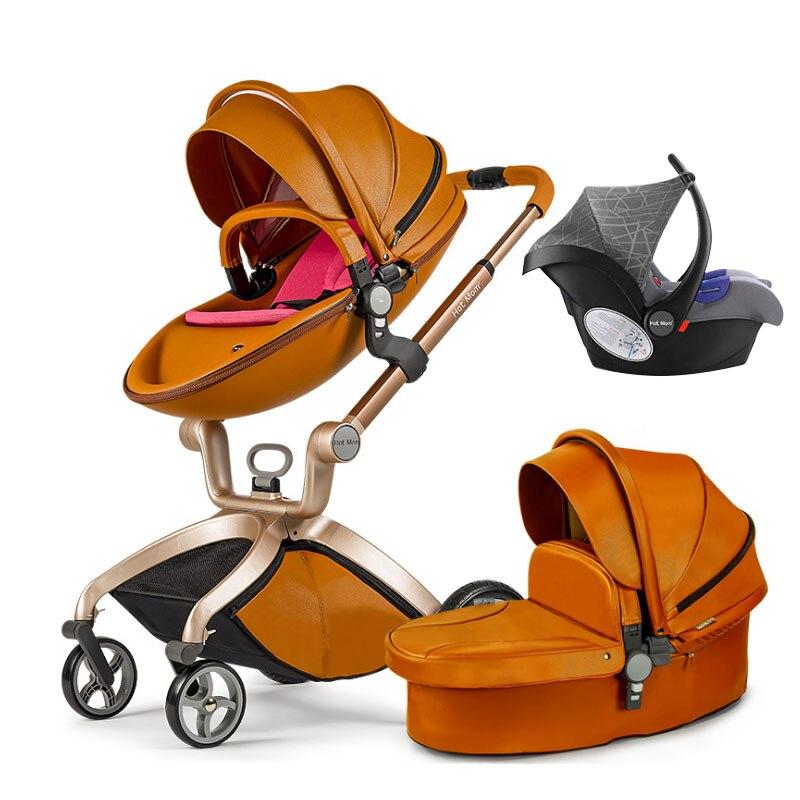 Maman chaude 3 en 1 luxe en cuir bébé poussette 2 en 1