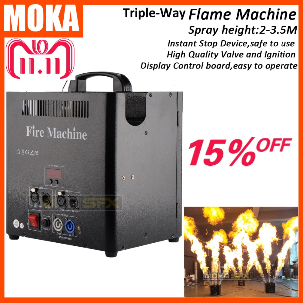 1 Pcs/lot 3 Head DMX512 Fire Machine 5 Channels Flame Projector stage flame machine LCD display все цены
