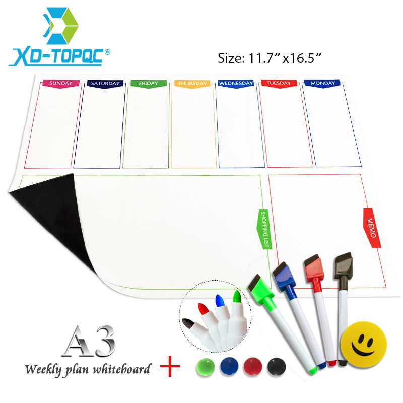 A3 Whiteboard Weekly Planner Fridge Magnet 29.7*42cm Magnetic Flexible White Message Board Drawing Refrigerator Bulletin Board Islamabad