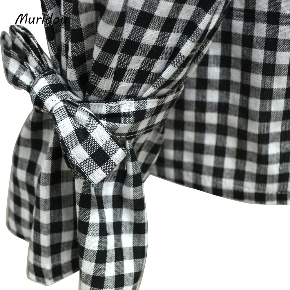 617233d78e3 Muridou women cold shoulder checkered shirts Blouse plaid Striped Shirt bow  sleeve Tops Blusa Feminina summer autumn plus size -in Blouses   Shirts  from ...