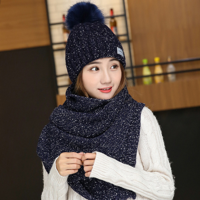 New Korean Autumn and winter new plus velvet thickening wool warm knitted outdoor cap  comfortable women hat gift a scarf
