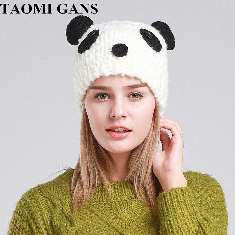 TAOMI GANS Knitted Warm Women's Cap 2017 New Fashion Cartoon Bear Winter Autumn Cute Hats  dr gans мойка кухоннаяdr gans tekno 650 терра