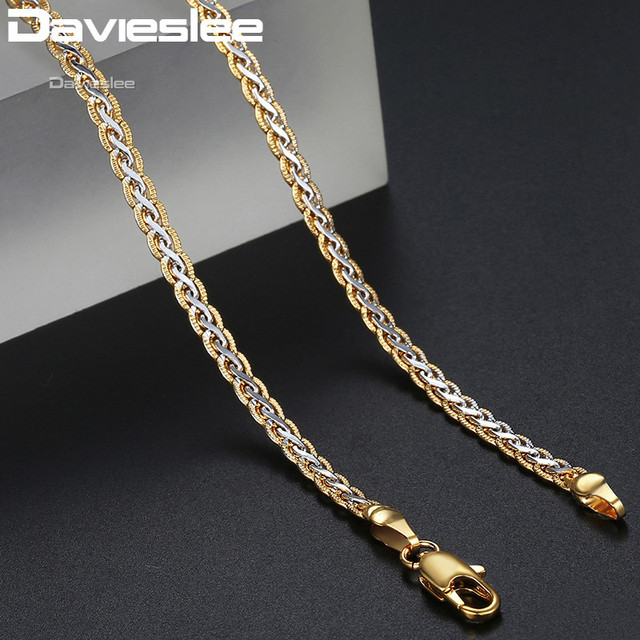 Davieslee Necklace for Women Gold Filled Womens Necklace Chain Hammered Braided