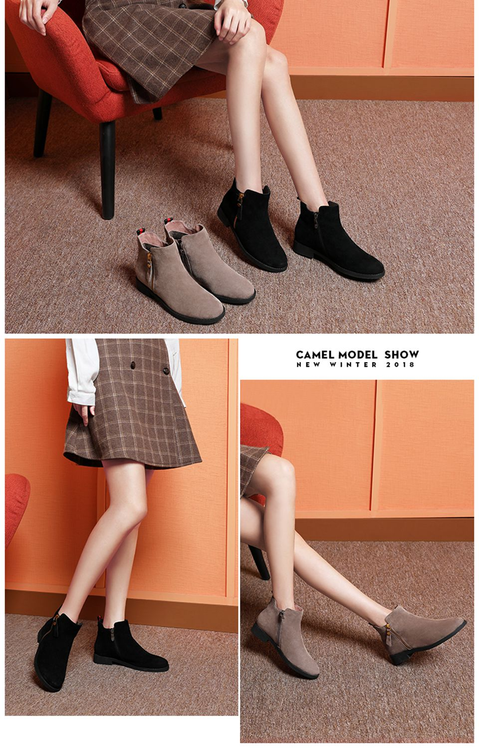 c2b8c864d969 CAMEL Genuine Leather Short Boots Women Winter Low Heeled Sample ...