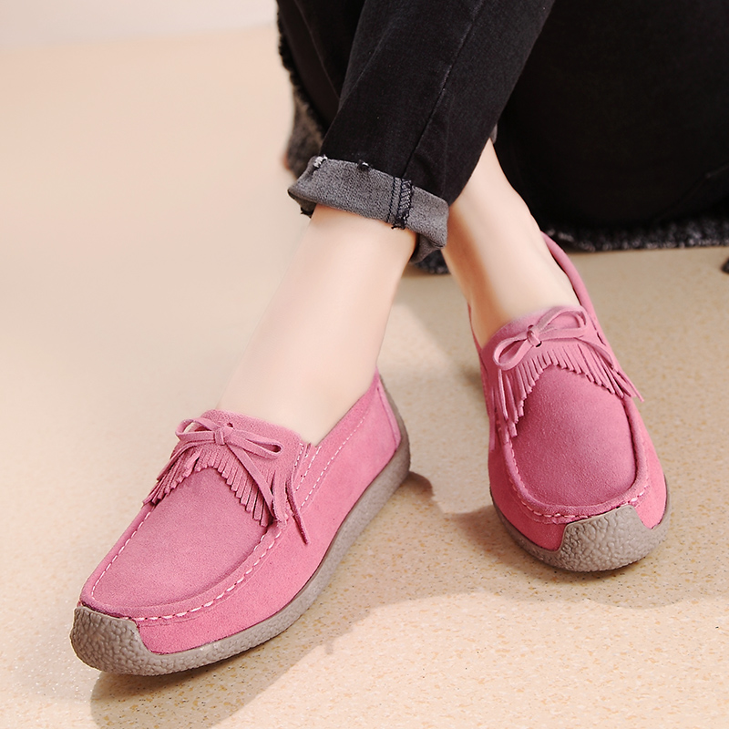 Women Ballet Flats Shoes Slip On Loafers Genuine Leather Flats Ladies Oxford Slip On shoes Cute Soft Sole Moccasins 2018 Autumn dadawen boy s girl s slip on loafers oxford shoes