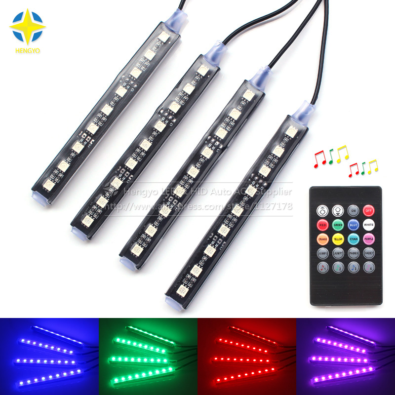 9LED 7 Colorful Remote Music Control Ambient Foot well Lighting Car Interior Parking Car Styling DIY decorative LED light image