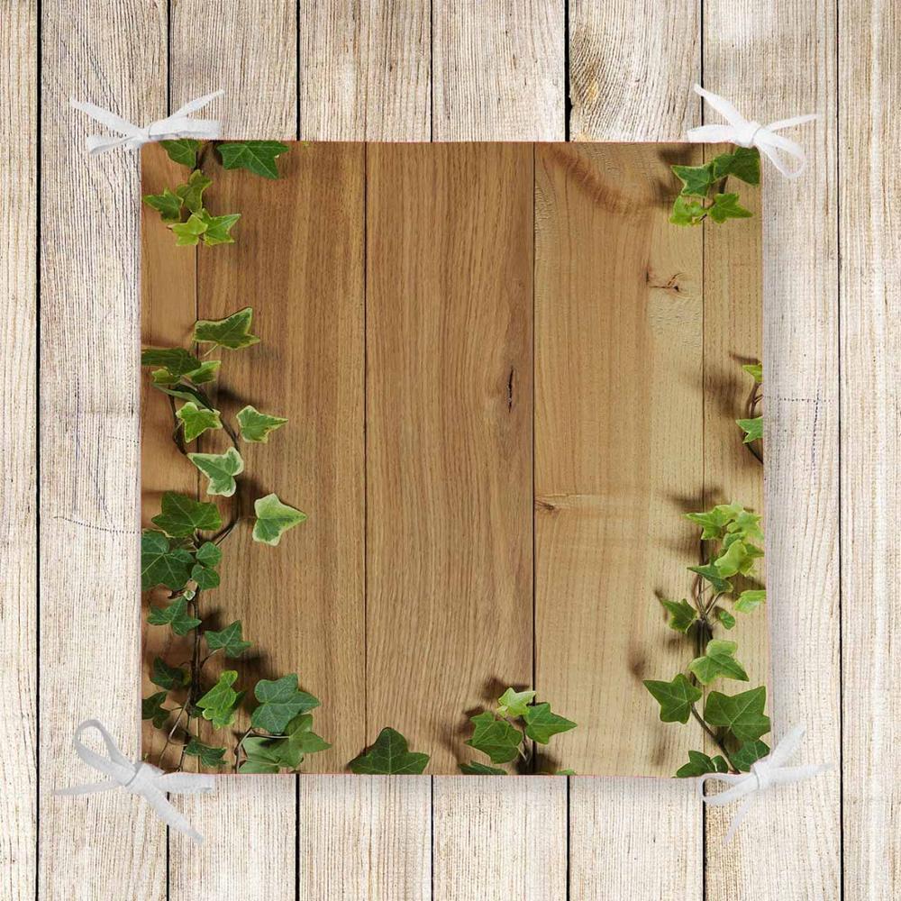 Else Brown Wood On Ivy Green Leaves 3d Print Square Chair Pad Seat Cushion Soft Memory Foam Full Lenght Ties Non Slip Washable