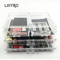 LIXYMO Cosmetic Makeup jewelry 3 layers 4 drawers Organizer Storage Display Stand Case Rack Holder boxes acrylic clear 1pc