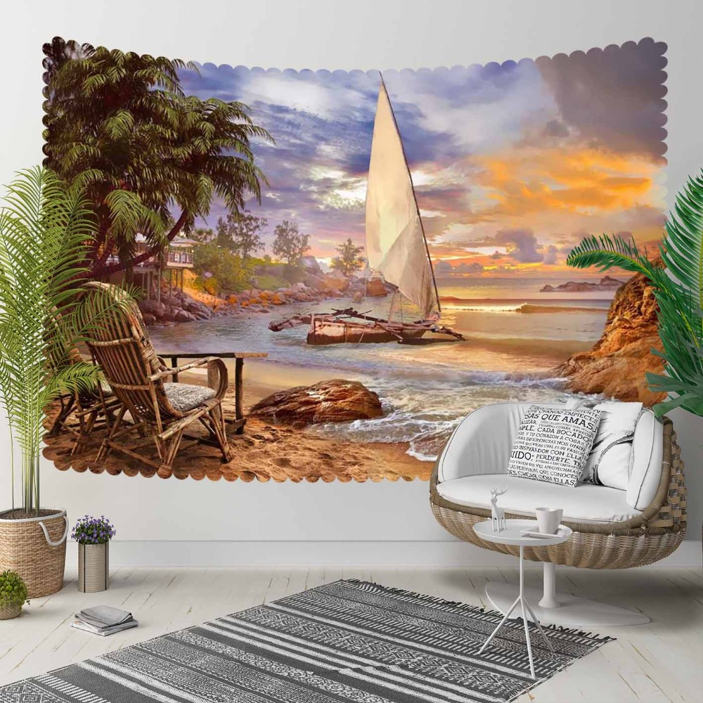 Else Tropical Beach Sand Sea Ship Green Palm Trees 3D Print Decorative Hippi Bohemian Wall Hanging Landscape Tapestry Wall Art