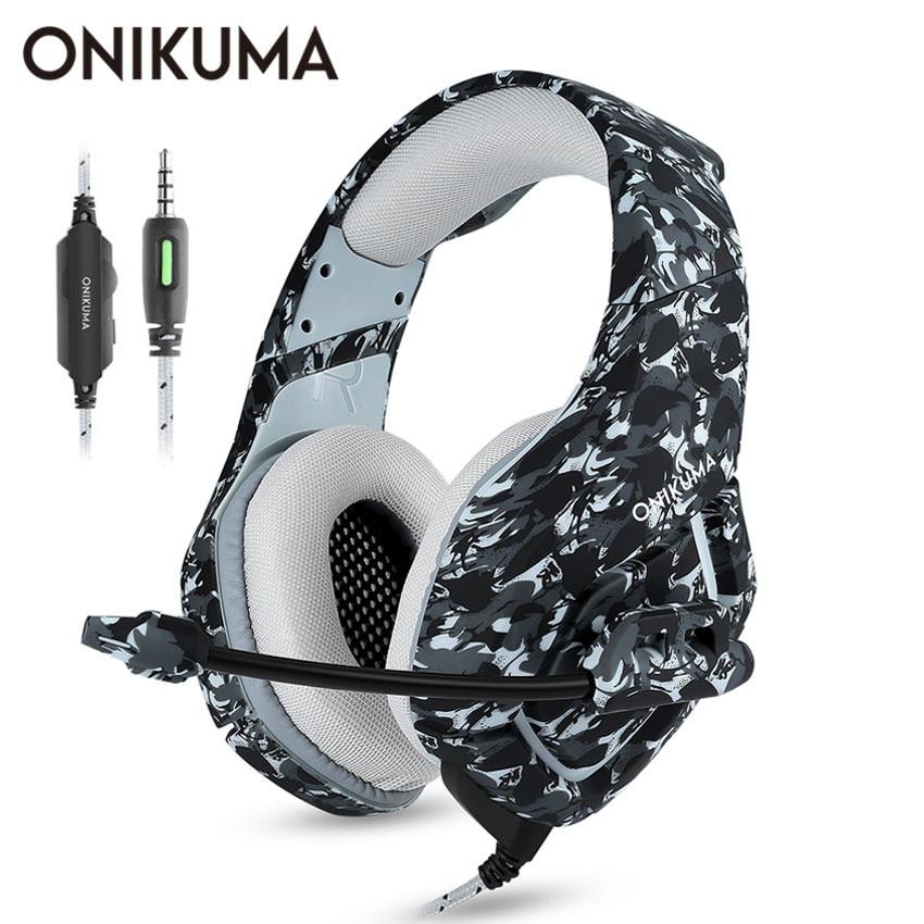 ONIKUMA K1 Casque camuflaje PS4 auriculares con micrófono auriculares estéreo de juego para teléfono celular nuevo Xbox PC portátil