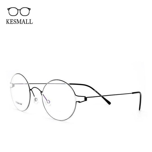 KESMALL Marque Designer Optique Lunettes Cadre Hommes Femmes Alliage de  Titane Myopie Lunettes Cadres Lunette Ronde 11a849ab859f