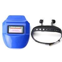 High Performance Auto Oscurecimiento Casco De Soldadura Tig Mig Soldador Máscara lentes de Solar Powered Azul Tapa Soldador de Área de Visualización de 8.9x3.4 cm