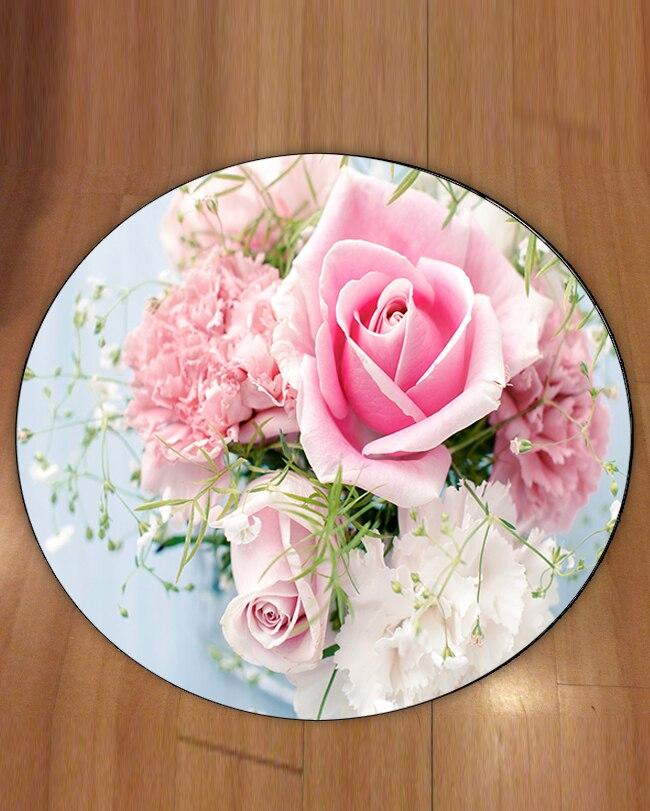 Else Blue Floor Pink Rose Flowers Floral Love 3d Pattern Print Anti Slip Back Round Carpets Area Rug For Living Rooms Bathroom