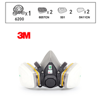 3M 6200 Reusable Half Face Mask with 6057 Respirator Mask organic gases Chlorine Acid Gas Cartridge Vapor LT147