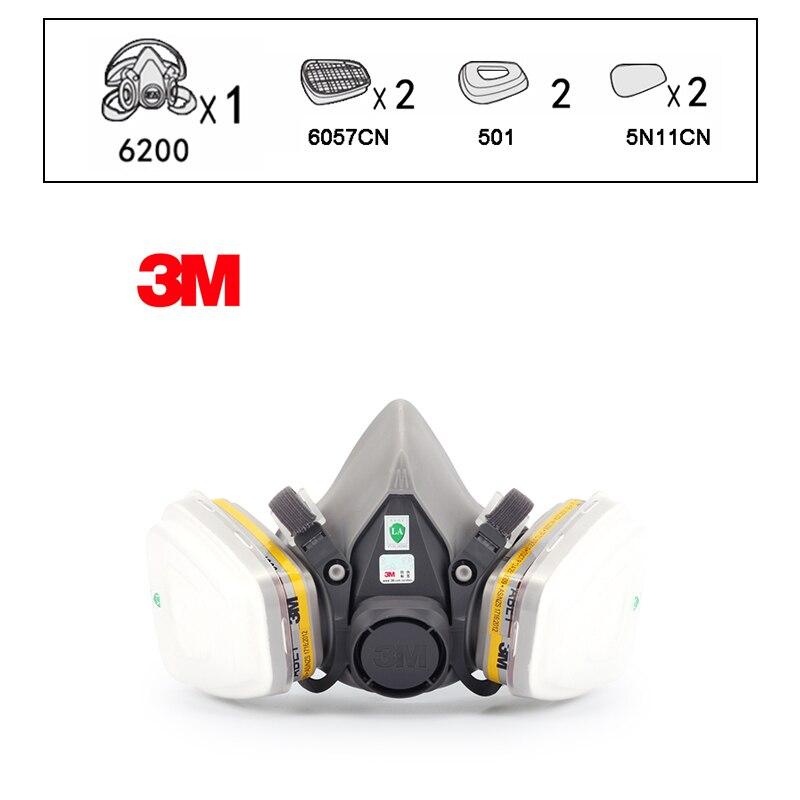 3 M 6200 demi-masque réutilisable avec masque respiratoire 6057 gaz organiques chlore acide cartouche de gaz vapeur LT147