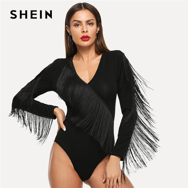 SHEIN Black Elegant Weekend Casual Fringe Embellished Form Fitting Solid Skinny Bodysuit 2018 Summer Fashion Women Bodysuits
