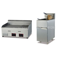 Stainless steel Gas griddle Grill machine Grill food machine GH 722 + GF 2G 30L/Tank gas fryer