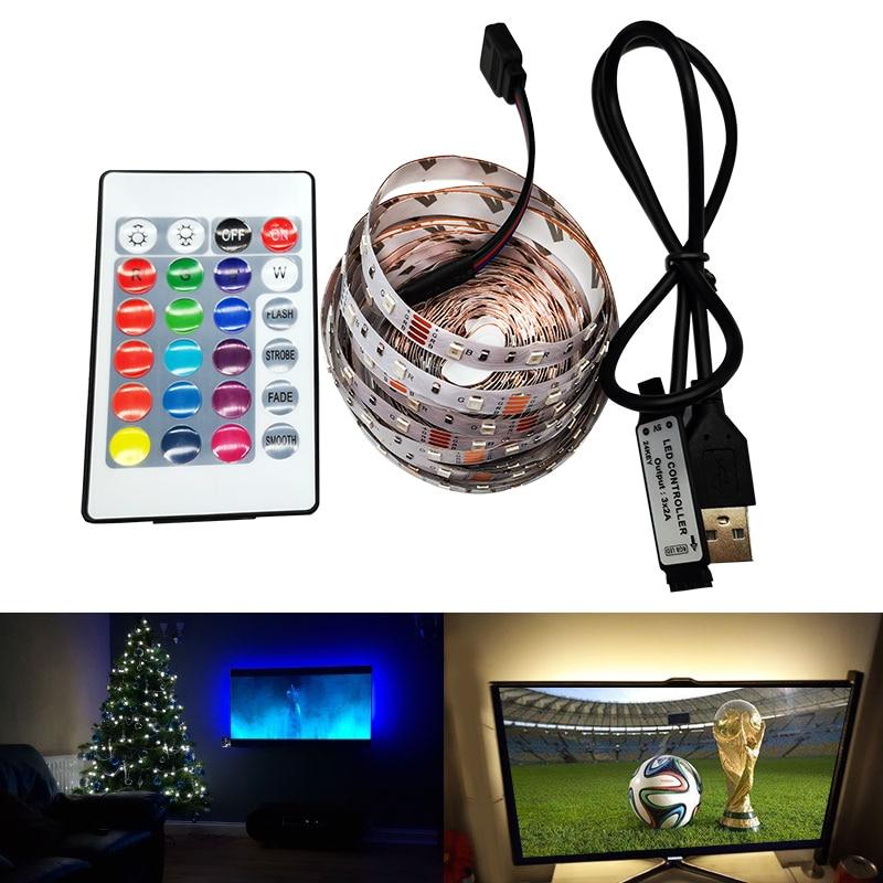 3528 5V USB Port Power RGB LED Strip NOT Waterproof Light Tape Flexible String Lamp 1M 2M 3M 4M 5M TV Background Decor Lighting