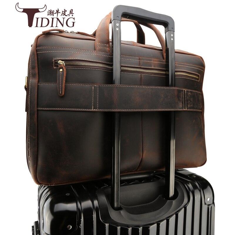Мужские 17 ноутбук Портфели Бизнес путешествия Сумки натуральная кожа 2018 человек большой Ёмкость Повседневное Винтаж кожаные сумки